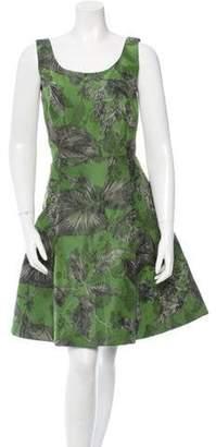 Oscar de la Renta Silk Sleeveless A-Line Dress w/ Tags Olive Silk Sleeveless A-Line Dress w/ Tags