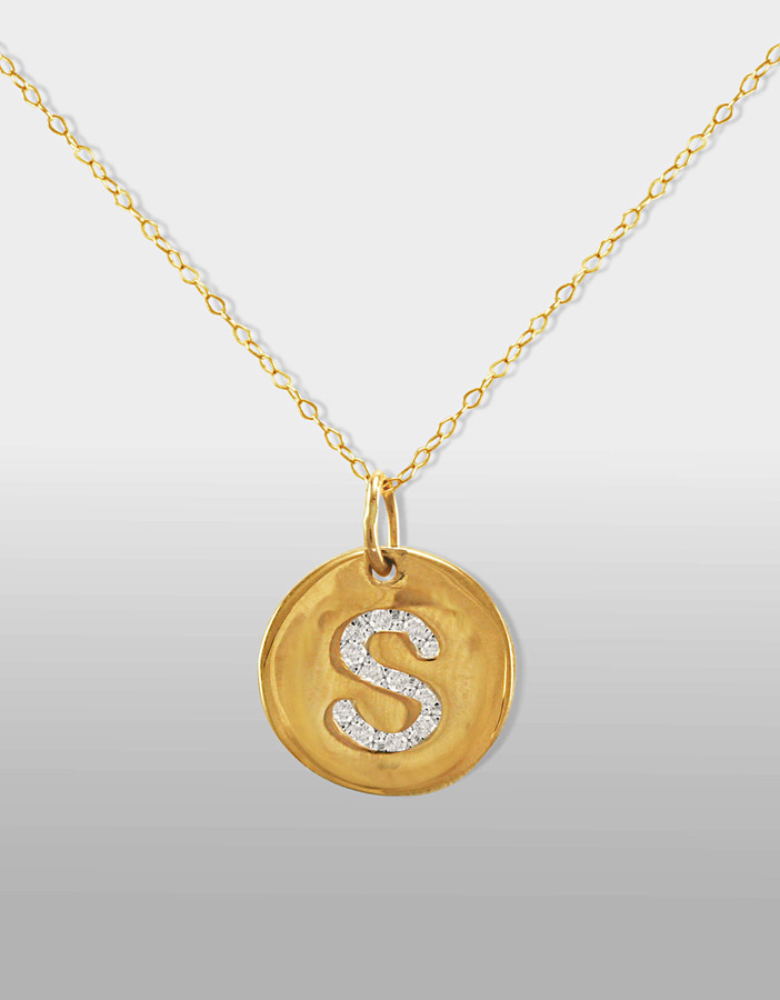 """Lord & Taylor 14 Kt. Gold Diamond Initial """"S"""" Pendant Necklace"""