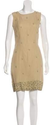 Matthew Williamson Silk Embroidered Dress Khaki Silk Embroidered Dress