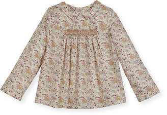 Bonpoint Floral-Print Smocked Blouse, Size 3-8