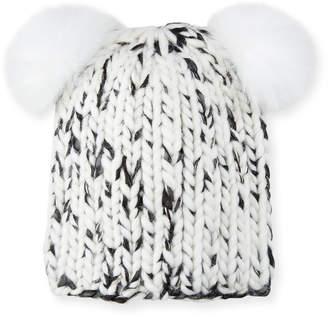 Eugenia Kim Mimi Metallic Knit Beanie Hat w  Fur Pompoms c25c47ea8ad7