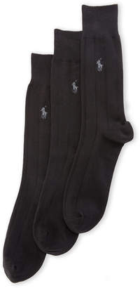 Polo Ralph Lauren 3-Pack Wide Rib Solid Dress Socks