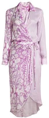 HEMANT AND NANDITA Floral & Stripe Midi Shirtdress