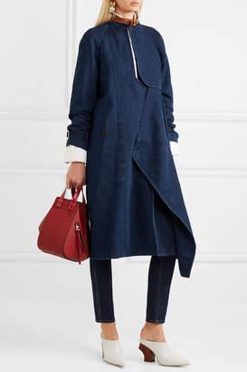 J.W.Anderson Leather-trimmed Cotton And Linen-blend Denim Coat - Dark denim