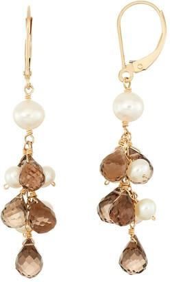 14k Gold Smoky Quartz Briolette & Freshwater Cultured Pearl Drop Earrings