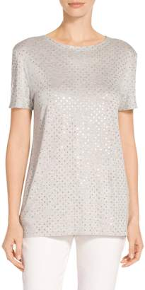 St. John Sequined Viscose Mélange Jersey Short Sleeve T-Shirt