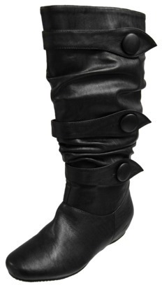 Journ Button Trim Slouchy Boots