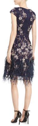 David Meister Floral V-Neck Cocktail Dress w/ Feather Skirt