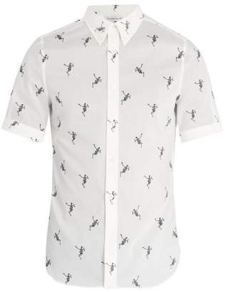 Alexander McQueen Dancing Skeleton Print Cotton Shirt - Mens - Ivory Multi