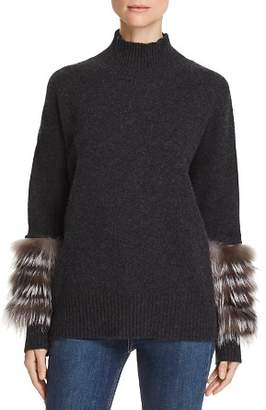 Bloomingdale's C by Fox Fur & Leather-Trim Cashmere Turtleneck Sweater - 100% Exclusive