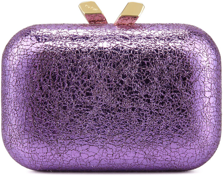 Kotur Margo Crinkled Metallic Box Clutch Bag, Purple
