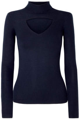 Temperley London Gravity Cutout Ribbed Merino Wool Sweater - Petrol