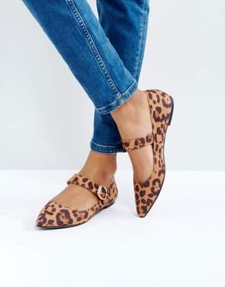 London Rebel Mary Jane Leopard Buckle Flat Shoe