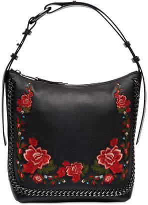 Calvin Klein Lianna Pebble Leather Embroidered Hobo