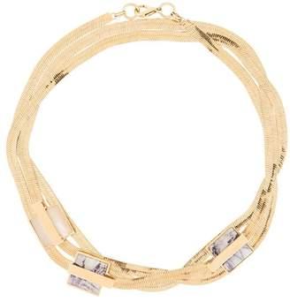 Crystalline short snake chain necklace