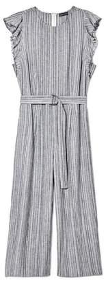Vince Camuto Striped Flutter-sleeve Jumpsuit