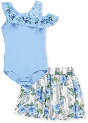Beautees Big Girls' 2-Piece Skirt Set Outfit