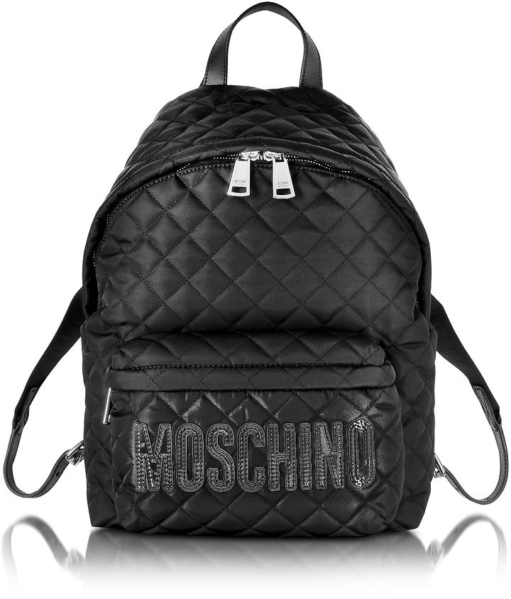 MoschinoMoschino Black Quilted Nylon Backpack w/Logo