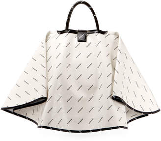 Balenciaga Ville Logo-Print Leather Satchel Bag w/Cape