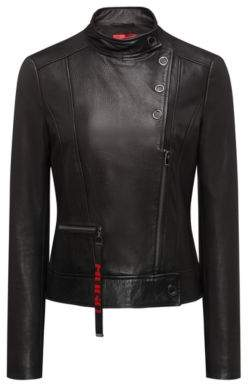 HUGO Boss Biker jacket in calfskin leather press-stud closures L Black