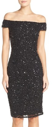 Women's Adrianna Papell Off The Shoulder Sequin Sheath Dress $199 thestylecure.com
