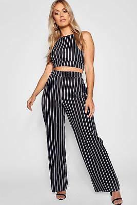 boohoo NEW Womens Plus Stripe Wide Leg Trouser in Polyester 5% Elastane
