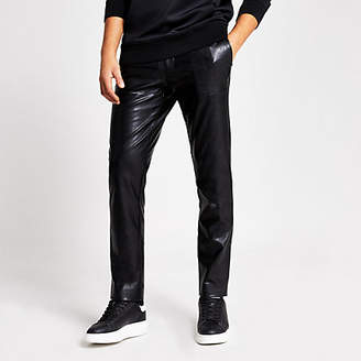 River Island Black faux leather skinny trousers