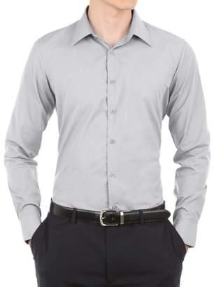 Verno Mens Grey Slim Fit Long Sleeves Dress Shirt