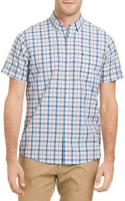 Izod Breeze Short Sleeve Plaid Button Down Shirt