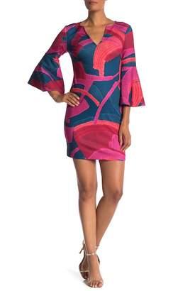 Trina Turk trina Pali 3/4 Flare Sleeve Print Dress