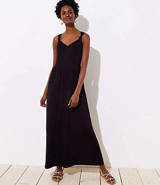 LOFT Beach Knotted V-Back Maxi Dress