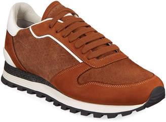Brunello Cucinelli Men's Perforated Suede Trainer Sneakers