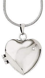 "Steel by Design Stainless Steel 20"" Polished Heart Locket Neckl"