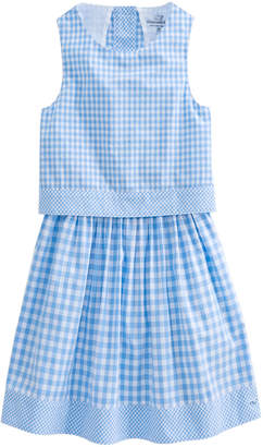 Vineyard Vines Girls Gingham Mix Dress