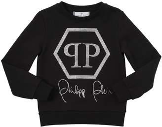 Philipp Plein Junior Logo Embellished Cotton Sweatshirt