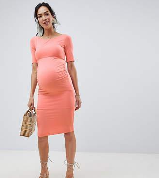 Asos DESIGN Maternity bardot midi dress with half sleeve