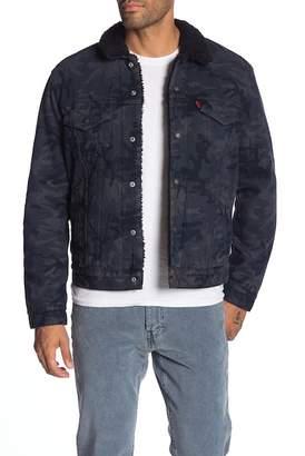 Levi's Black Camo Type 3 Faux Shearling Trucker Jacket