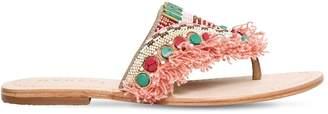 Manebi 10mm Fringed Embellished Leather Sandals