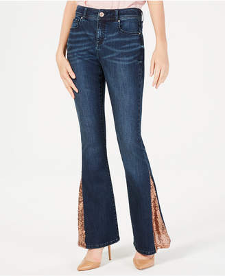INC International Concepts I.n.c. Petite Embellished Flare-Leg Jeans