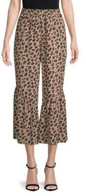 Kobi Halperin Leah Animal-Print Silk Wide-Leg Pants