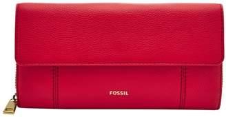 Fossil Jori Rfid Flap Clutch Wallet Brick Red