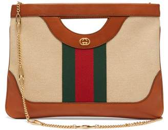 9ab7afdcc444 Gucci Web Stripe Canvas And Leather Tote Bag - Womens - Beige Multi