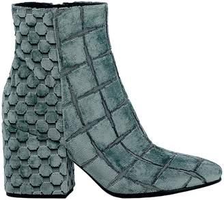 Elena Iachi Acqua Velvet Ankle Boots