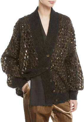 Brunello Cucinelli V-Neck Button-Front Mohair and Sequin Net Cardigan