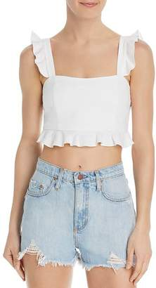 Show Me Your Mumu Delia Flounce-Trimmed Cropped Top