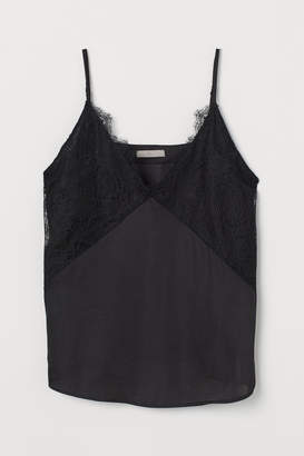 H&M Satin Camisole Top with Lace - Black