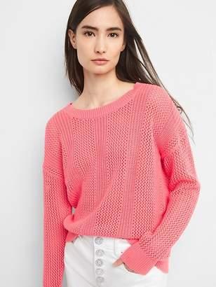 Open-Stitch Pullover Sweater