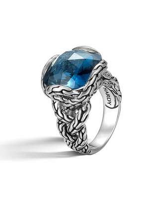 John Hardy Classic Chain Braided London Blue Topaz Ring, Size 7