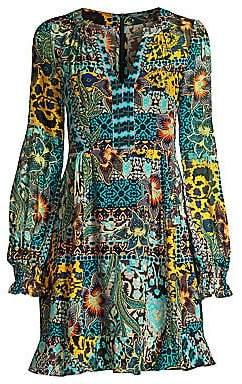 Nanette Lepore Women's Patchwork Floral Chiffon Dress - Size 0