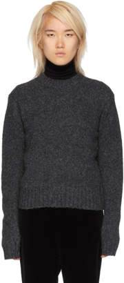 Helmut Lang Grey Wool and Alpaca Crewneck Sweater